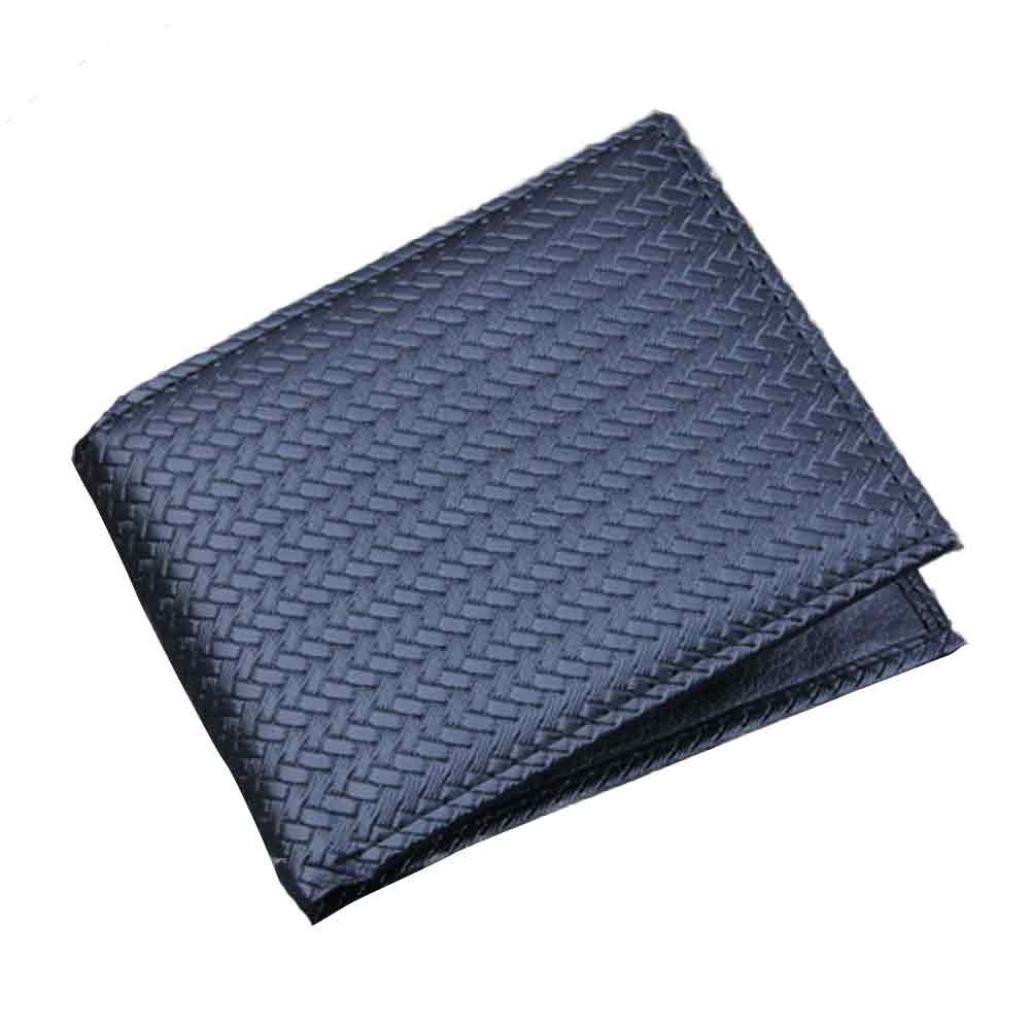 AMA(TM) Men Business Leather Bifold Wallet Short Purse Bifold ID Credit Card Holder (Black)