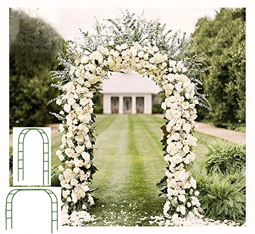 Adorox 7.5 Ft Metal Arch (Two Way Assemble) for Wedding Garden Bridal Party Decoration Arbor (Green)