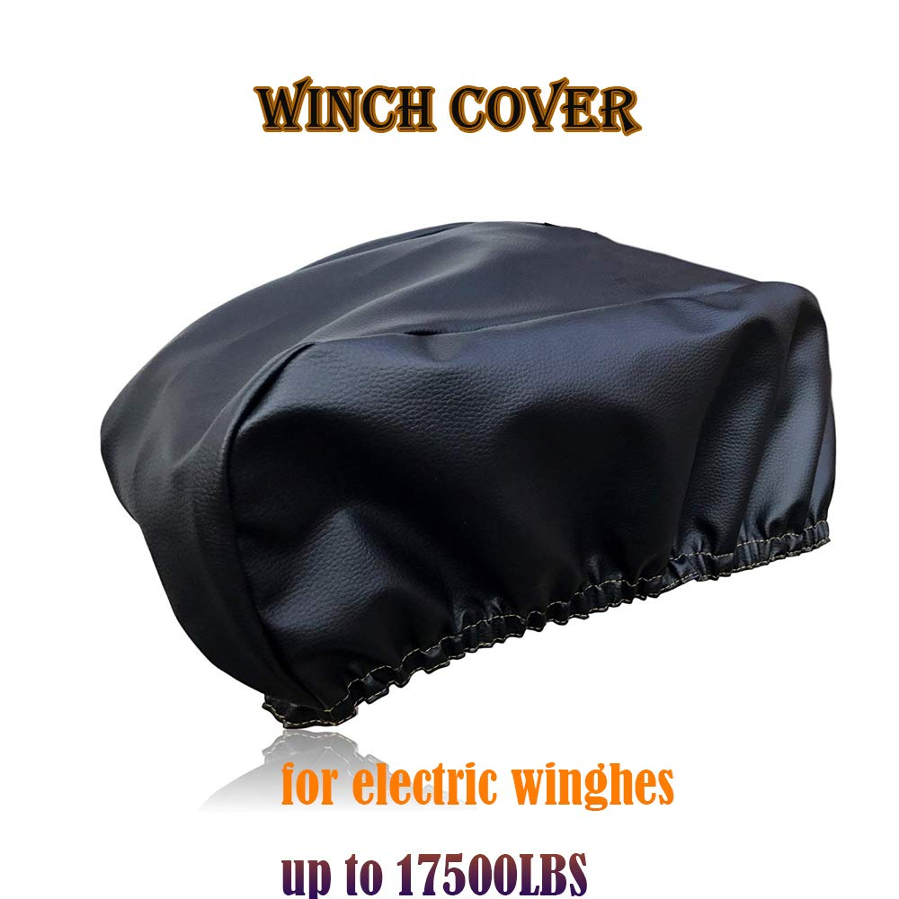 """Tchrules Premium Winch Cover Dust-Proof, Waterproof, UV & Mildew-Resistant Winch Protection Cover/Sewn-in Elastic Band   Ideal for Electric Winches Up to 17500 Lbs   22.5'' W x 10"""" H x 6.3"""" D"""