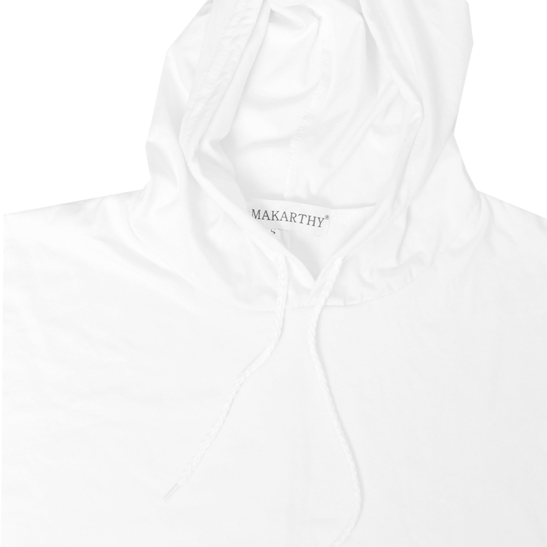 MAKARTHY Womens Short Sleeve Hoodie Lightweight Crop Top Pullover Sweatshirt White-L by MAKARTHY (Image #4)