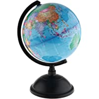 Dolity 25cm/20cm Swivel Stand World Map Globe for Desktop Decoration Geography Education - Blue, 20cm