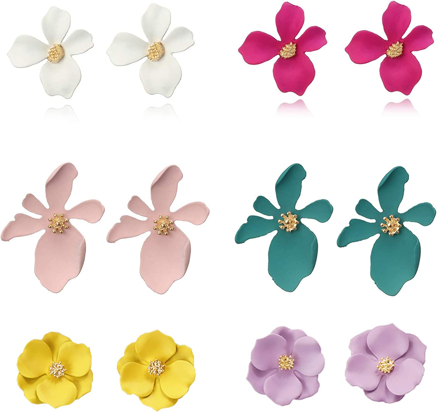 Wremily 6 Pairs Boho Flowers Stud Earrings Set for Women Girls Chic Petal Flower Statement Earrings with Gold Flower Bud,3 Different Style