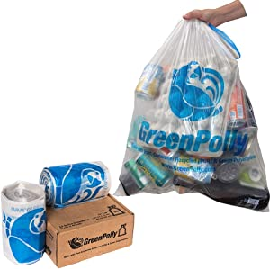 GreenPolly Clear Recycling Bags with Drawstring, 13 Gallon, 90 Count