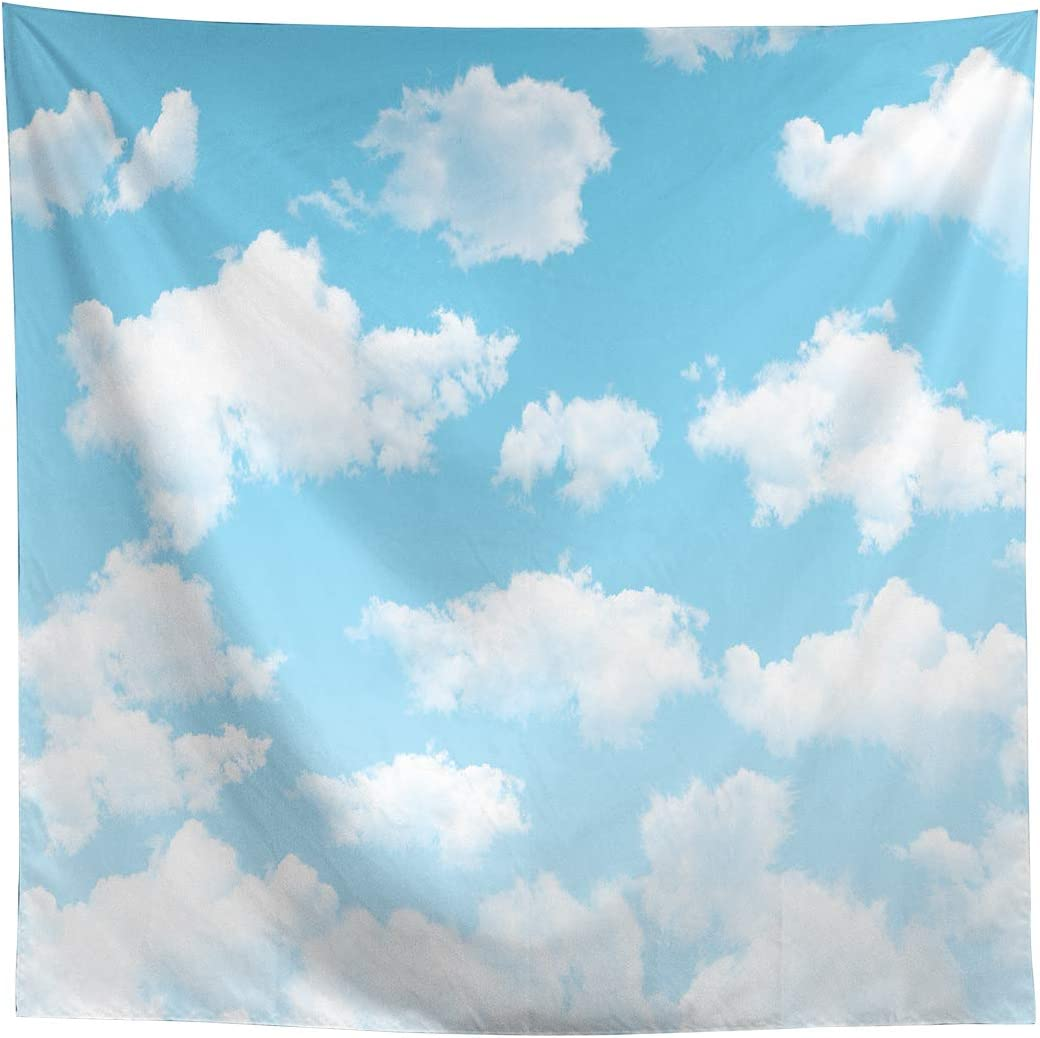 Allenjoy 8x8ft Fabric Blue Sky White Cloud Backdrop for Newborn Spring Portrait Photography Pictures Kids Children World Travel Aviator Birthday Party Decor Welcome Baby Shower Photo Shoot Background