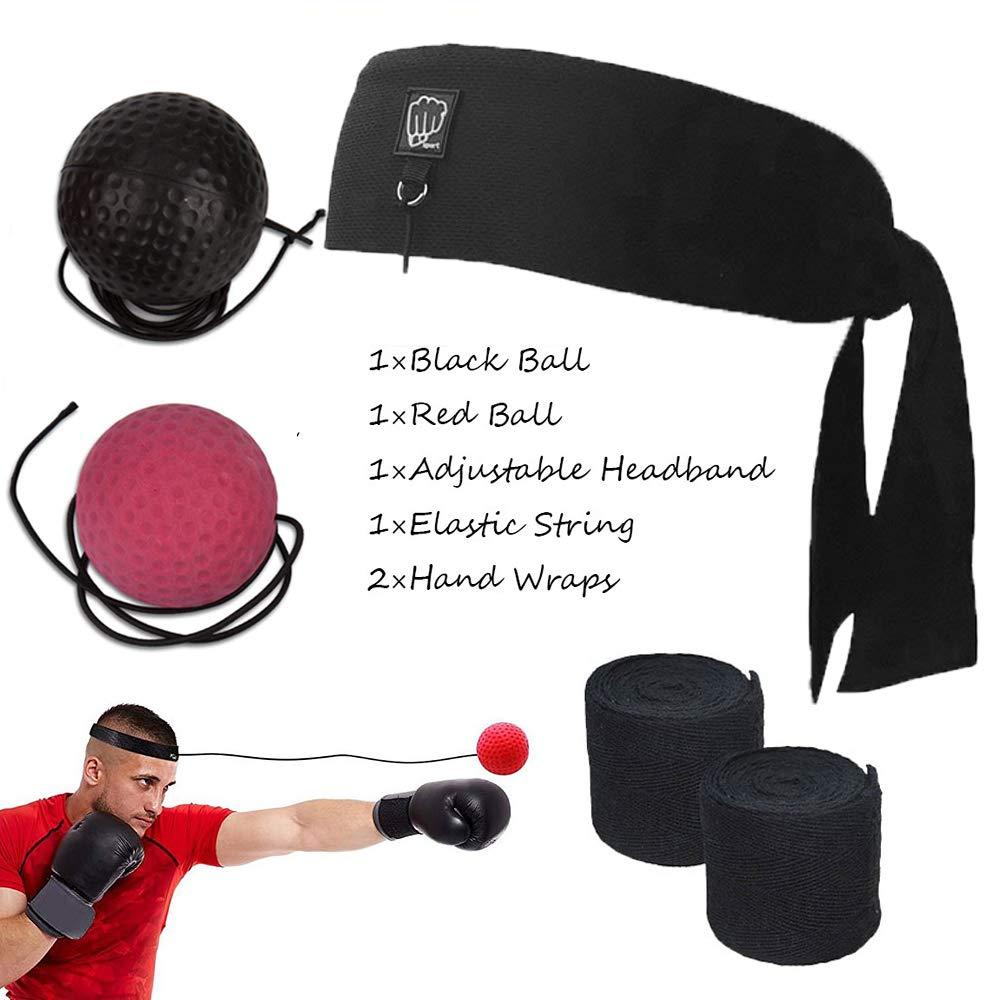 Bola Boxeo Reflejo, 2 Reflex Ball + Vendas de Boxeo (Training Mejorar las Reacciones y Velocidad/ Descompresión) - Portátil Entrenamiento de Boxeo ...