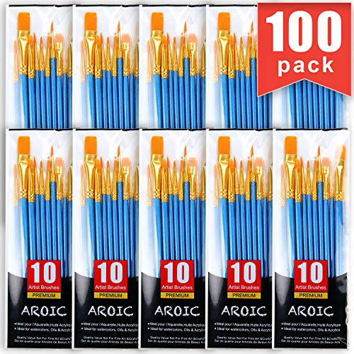 Painting Brush Set, 10 Packs /100 Pieces, Nylon Brush Head, Suitable for Oil and Watercolor, Perfect Suit of Art Painting, Best Gift for Painting Enthusiasts.