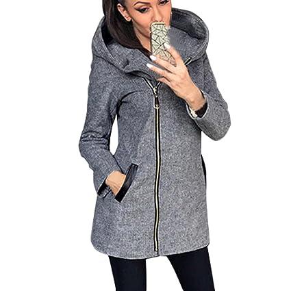 Moda mujer invierno otoño chaquetacon capucha DoraMe Sudadera capa Outwear Parka abrigo chaqueta de punto (