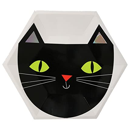 Souarts – gato negro Halloween fuentes del partido de platos de papel caliente plata bandeja desechables