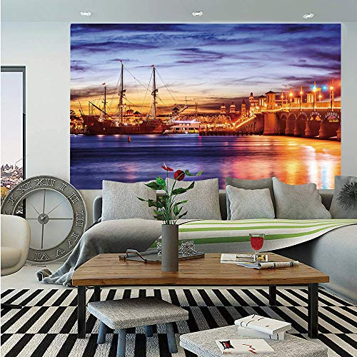 (United States Wall Mural,St. Augustine Florida Famous Bridge of Lions Dreamy Sunset Majestic Decorative,Self-Adhesive Large Wallpaper for Home Decor 55x78 inches,Orange Blue Coral)