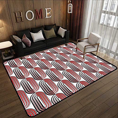 Floor mats for Trucks,Modern Art,Ellipse Curves Surrounded Focal Points Mathematical Education Modern Motif,Vermilion White 35