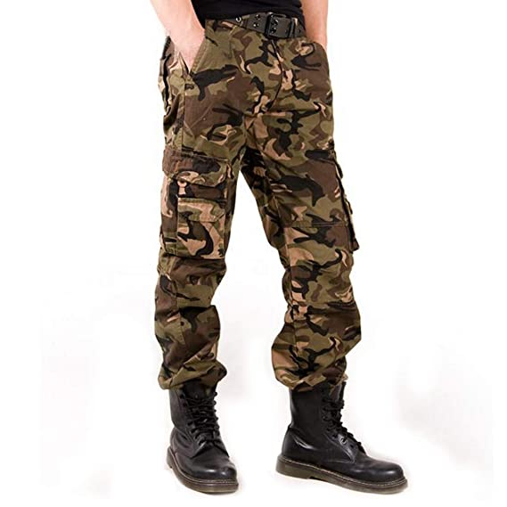 b5fd50dad52c Amazon.com: zeetoo Mens Relaxed-Fit Cargo Pants Multi Pocket Military Camo  Combat Work Pants: Clothing