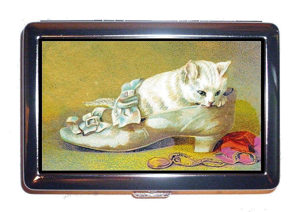 Kitten White Cat In Shoe Sweet Victorianアート:ステンレススチールIDまたはCigarettesケース( Kingサイズまたは100 mm )   B00NAPAQQK