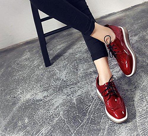 Zapatos de plataforma pastelería gruesa de las mujeres clásicas de la Mujer 2017 de primavera y verano Encaje zapatos casuales Red
