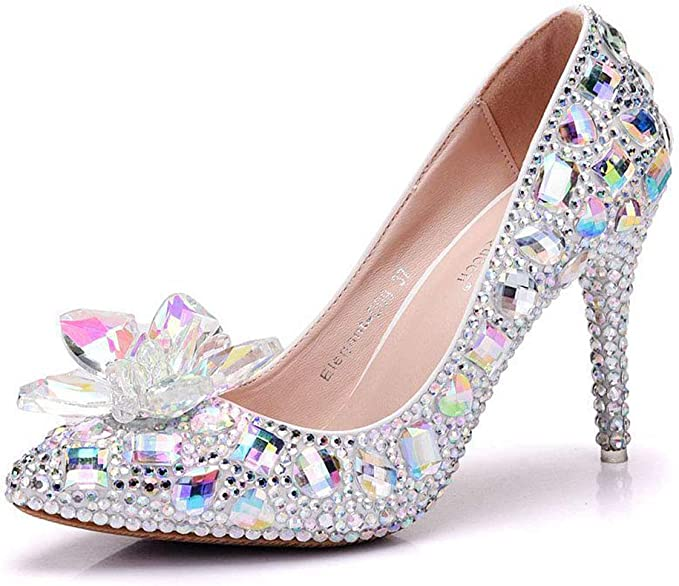 Scarpe Sposa Brillantini.Wmzqw Per Donna Scarpe Da Sposa 9cm A Stiletto Appuntite Cristalli