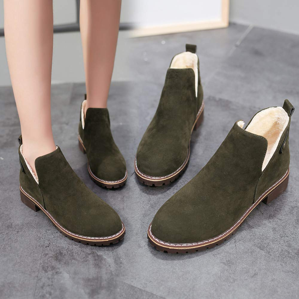 252dac21476af Hunzed Women Shoes Solid Color Clearance Round Head Flat Suede ...