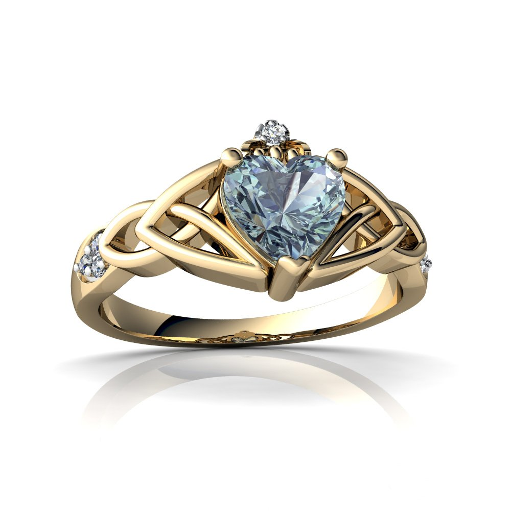 14kt Yellow Gold Aquamarine and Diamond 6mm Heart Claddagh Trinity Knot Ring - Size 8.5