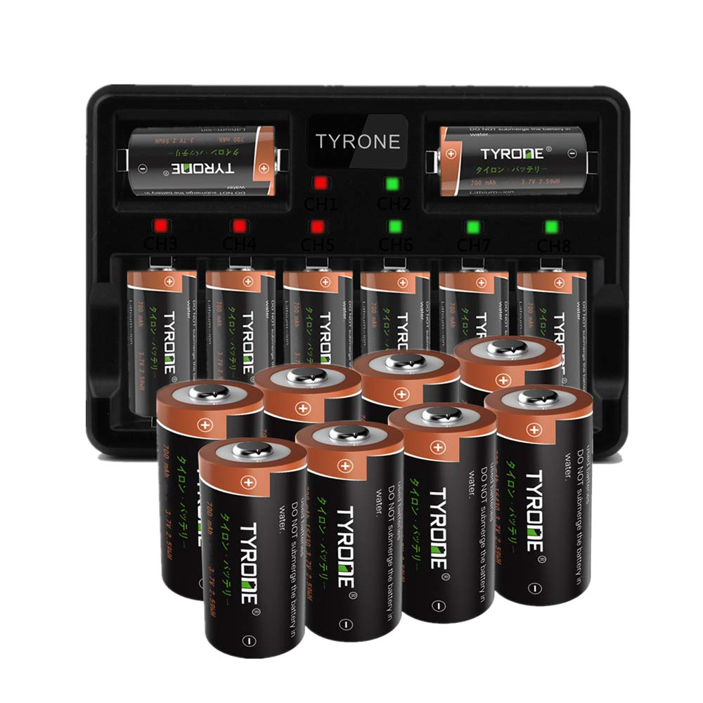 Arlo Batteries Rechargeable and Charger, Tyrone CR123A Rechargeable Batteries for Arlo Wireless Cameras [ 16-Pack High Capacity 700mAh 3.7V Batteries with 8-Ports Fast Smart Charger ] by Tyrone-Battery