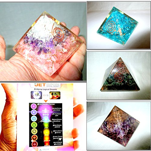 - Jet Exquisite Four (4) RCA Green Mica Feroza Amethyst Chakra Pyramid 1 each Best Offer Free Booklet Jet International Crystal Therapy Crystal Gemstones Copper Metal UPS EXPEDITED SHIPPING