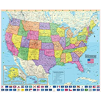 Amazoncom United States Wall Map Poster With State Flags - Us map with state flags