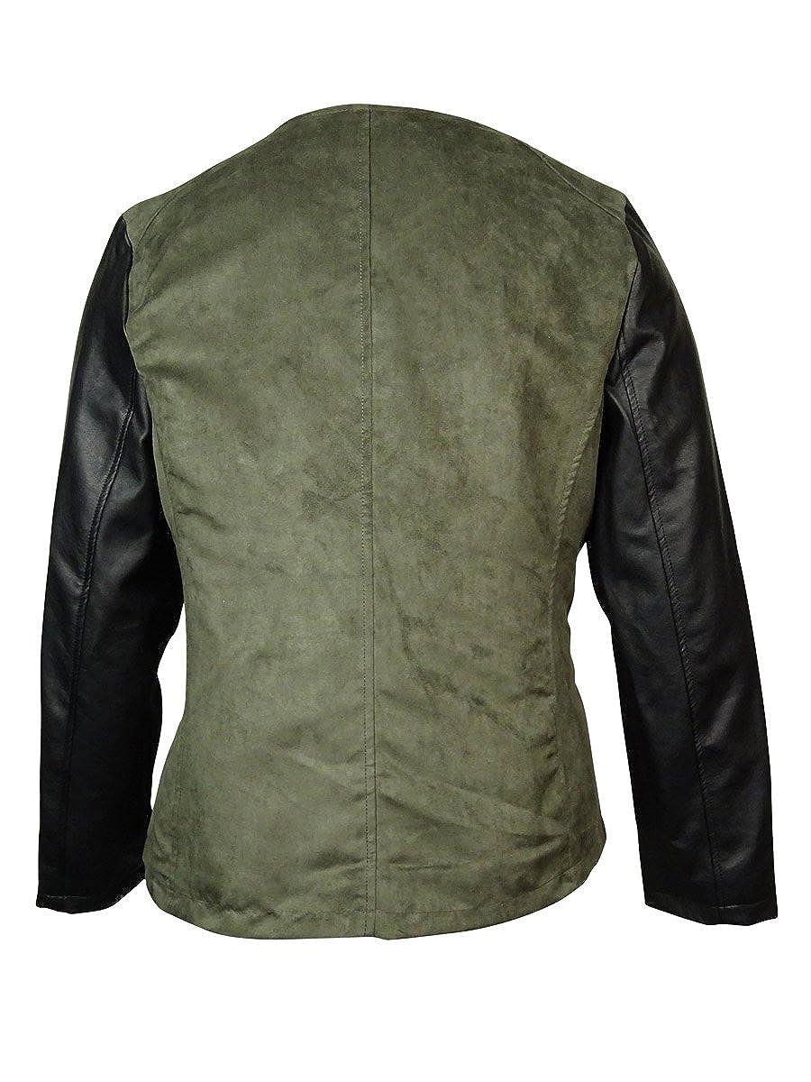 f8f38446e Alfani Women's Faux Leather Suede Motor Jacket (0X, Military)