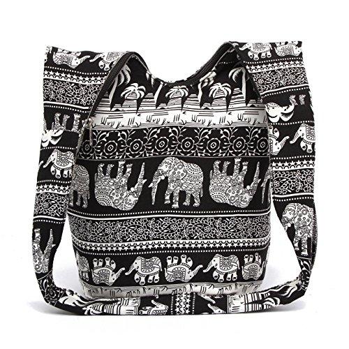 Prints Black Bags Hand Hobo Cotton Crossbody canvas Fashion Bohemian Bags MIANZI Women Animal 6xqwgASwz