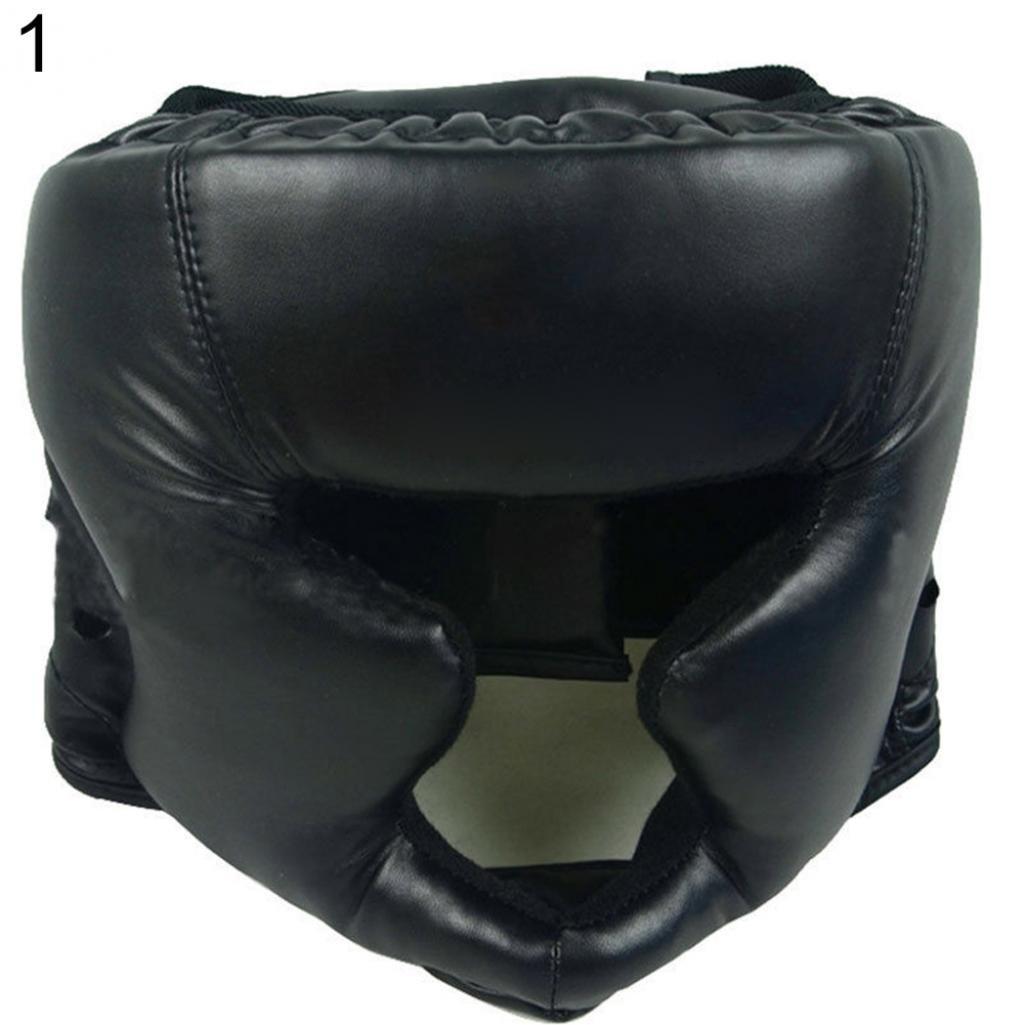 Geshiglobal - Casco de boxeo de piel sintética para artes marciales MMA, negro