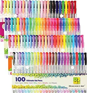 Designer'z Art 100 Unique Color Gel Pens with Case for Adult Coloring Books Includes Glitter Metallic Neon Swirl Pastel Neon-Glitter Classic Special - Non Toxic and Acid Free - with Quick Dry