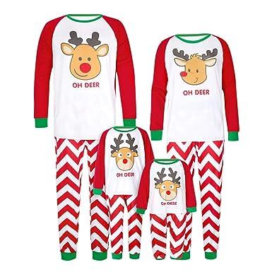 f9a512320c Amazon.com  Family Matching Pajamas Sets Christmas Pajamas Outfit Deer  Print Holiday Clothes PJ Sets Mom Dad Kids Sleepwear  Clothing