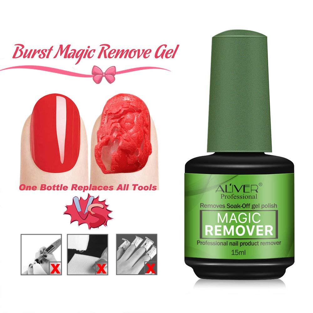 Magic Nail Polish Remover, (2Pcs) Easily & Quickly Removes Soak-Off Gel Polish, Don't Hurt Nails, Professional Non-Irritating Nail Polish Remover-15ml : Beauty