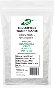 Smart Solutions Non-GMO Emulsifying Wax Pastilles NF 2lb | 100% Vegetable Derived Non-Toxic | Cosmetic Grade Resealable Bag