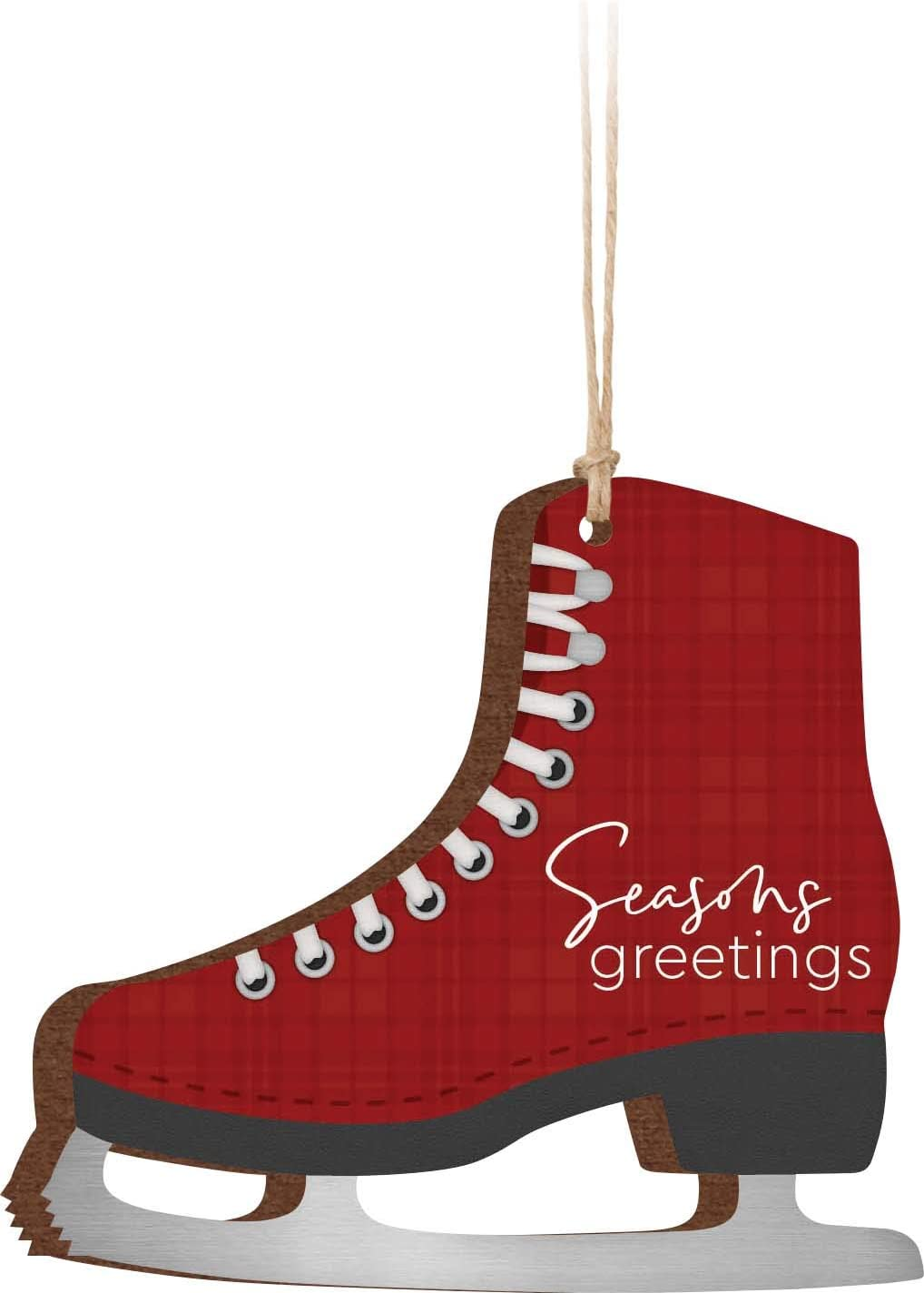 P. Graham Dunn Seasons Greetings Ice Skate Red 3.25 x 3 Wood Holiday Hanging Ornament