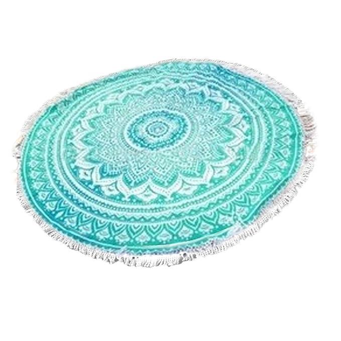 brinny Mantel/Toalla de playa/Adornos de Pared/Manta/Alfombra de yoga con Mandala de diseño de estilo hippie boho, redondo verde talla única: Amazon.es: ...