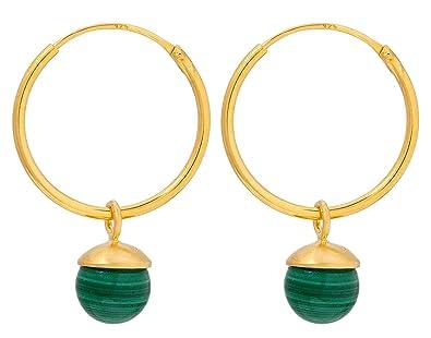 Tiefstpreis neuer Stil Wie findet man Pernille Corydon Damen Ohrringe Malachite Hoops Gold ...