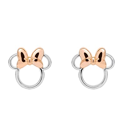 4a9308005 Disney Minnie Mouse Sterling Silver Two Tone Stud Earrings with Pink Bow,  Mickey's 90th Birthday