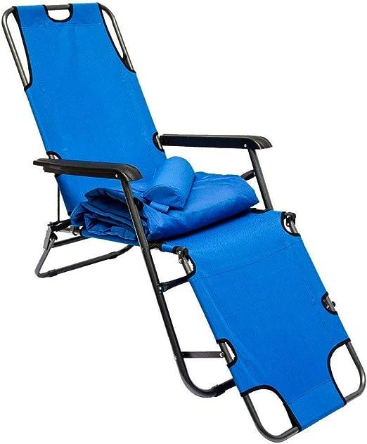 Tumbona Plegable   Cómoda Silla de Playa con Acolchada Amovible ...