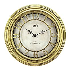 Maytime Antique Vintage Stylish Round Wall Clock Retro Quartz ABS Glass Front Cover Antiquity European Style Brushed Gold Paint Surface Texture 14 Inch Gold