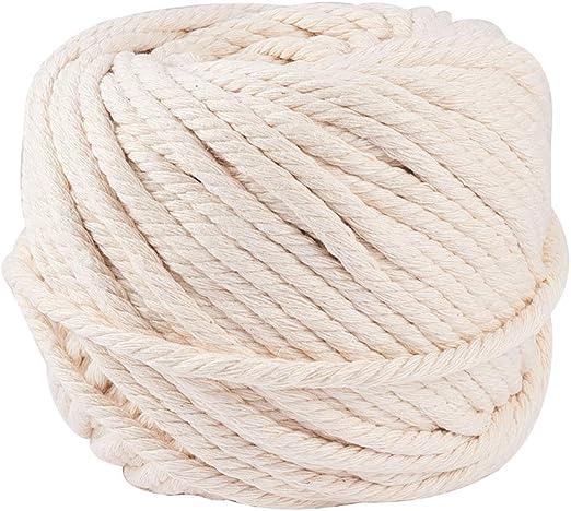 BENECREAT 60m Cuerda Cordel de Algodón Natural 100% Puro Cordón ...