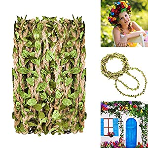 Hecaty 132 Feet Artificial Vine Fake Foliage Leaf Plant Garland Rustic Jungle Vines with Twine for Baby Shower Wreath Wedding Home Decor(132 ft with Twine) 2