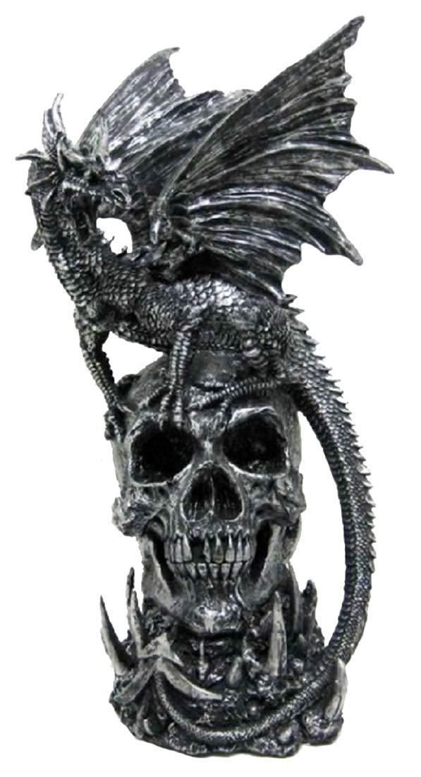 Draco Dragon Standing on a Skull Statue Fantasy Gothic Home Decor