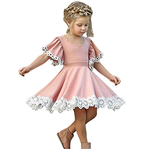 bca13e2be96a Littleice Baby Girls Lace Floral Party Dress Short Sleeve Solid Dress  Clothes Set Pink (3T