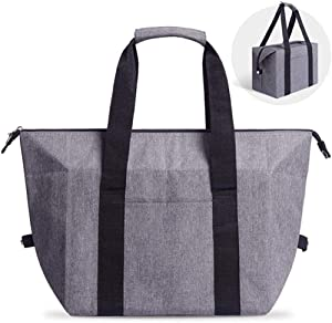 Reusable Insulated Shopping Cooler Bag with Zipper Top for Grocery, Thick Alumimum Foam Tote Thermal Bag for Frozen Cold Hot Foods Transport, Grey