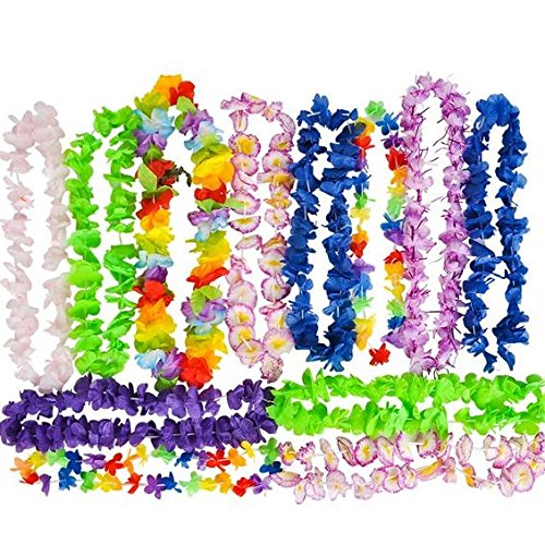 Hawaiian Flower Lei - Tropical Luau Party Supplies - By Neliblu - Large Flower Leis Assortment, Bulk Pack of 25; Luau Party Decoration Supplies and Favors (Buy Leis In Bulk)