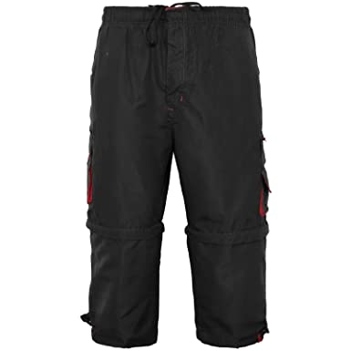 344df0d36d MENS 2 IN 1 COMBAT CARGO ZIP OFF SUMMER JOGGING CASUAL TROUSERS SHORTS 3/4  PANTS: Amazon.co.uk: Clothing