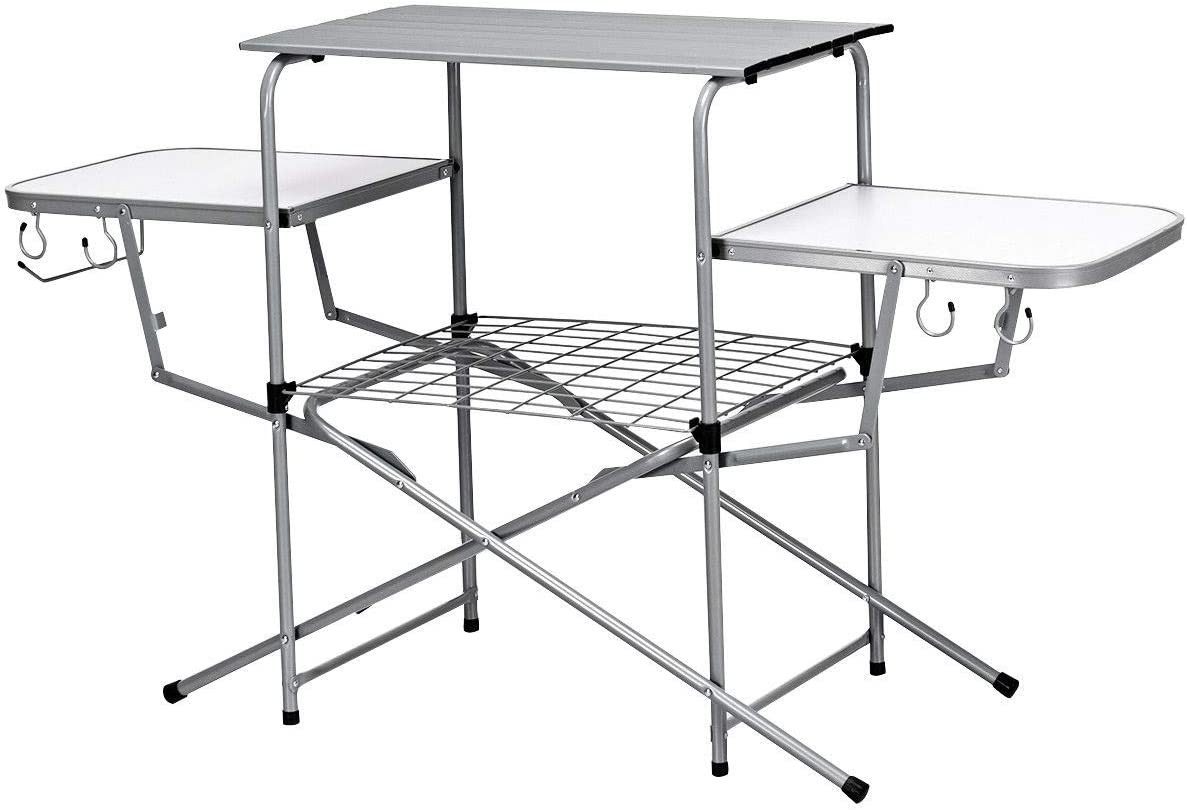 Portable 2-Tier Folding Camping Table Aluminum Grill Table BBQ Party Picnic