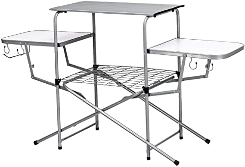 Giantex Folding Grill Table with Hooks and Storage Lower Shelf