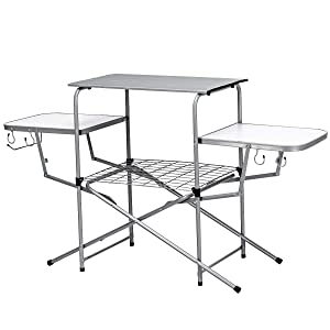 Giantex Aluminum Folding Grill Table, with Hooks and Storage Lower Shelf,Easy to Carry with Carrying Bag, Great for BBQ, Picnics, RVing and Backyards
