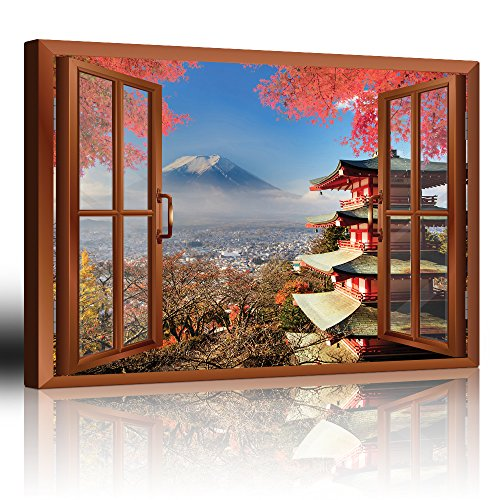 Copper Window Looking Out Into a Shrine with Mount Fuji on the Background
