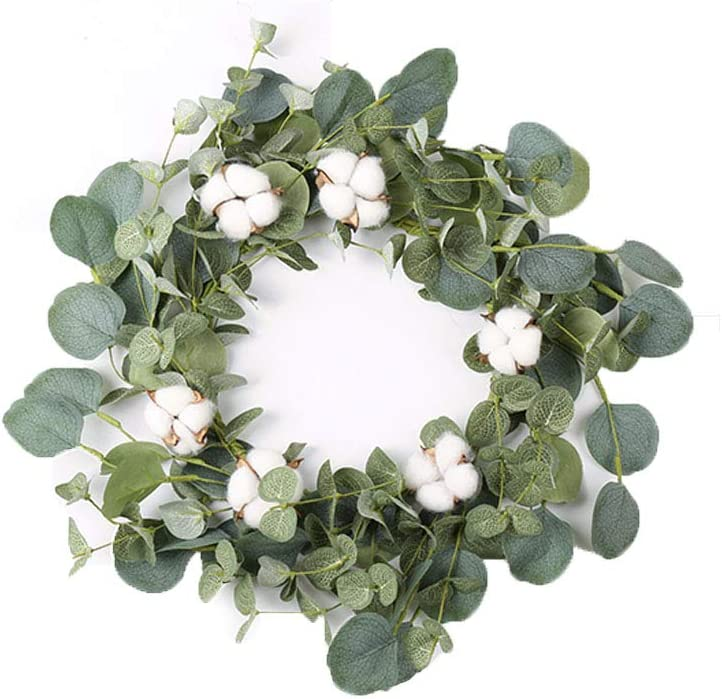 """14"""" Artificial Eucalyptus Green Leaf Wreath with Cotton, Spring Summer Outdoor Ornaments for Front Door Bedroom Wall Window Home Office, Housewarming Gift, and Easter Valentine Decor"""