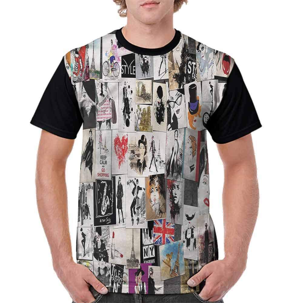 BlountDecor Cotton T-Shirt,Collage Fashion Modern Fashion Personality Customization