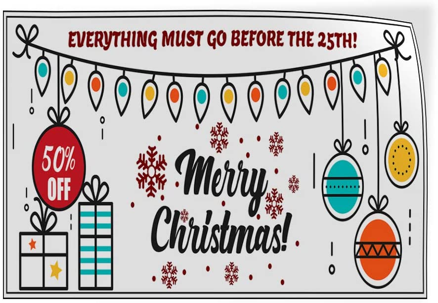 Custom Door Decals Vinyl Stickers Multiple Sizes Everything Must Go Before Date Christmas Business Christmas Sale Outdoor Luggage /& Bumper Stickers for Cars Red 27X18Inches Set of 10